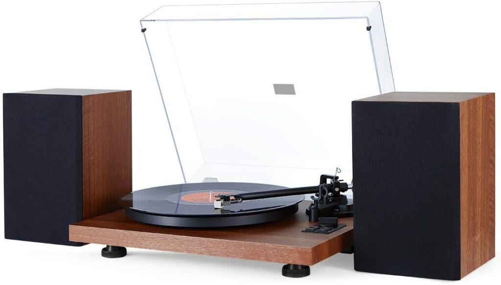 tourne disque vintage en bois